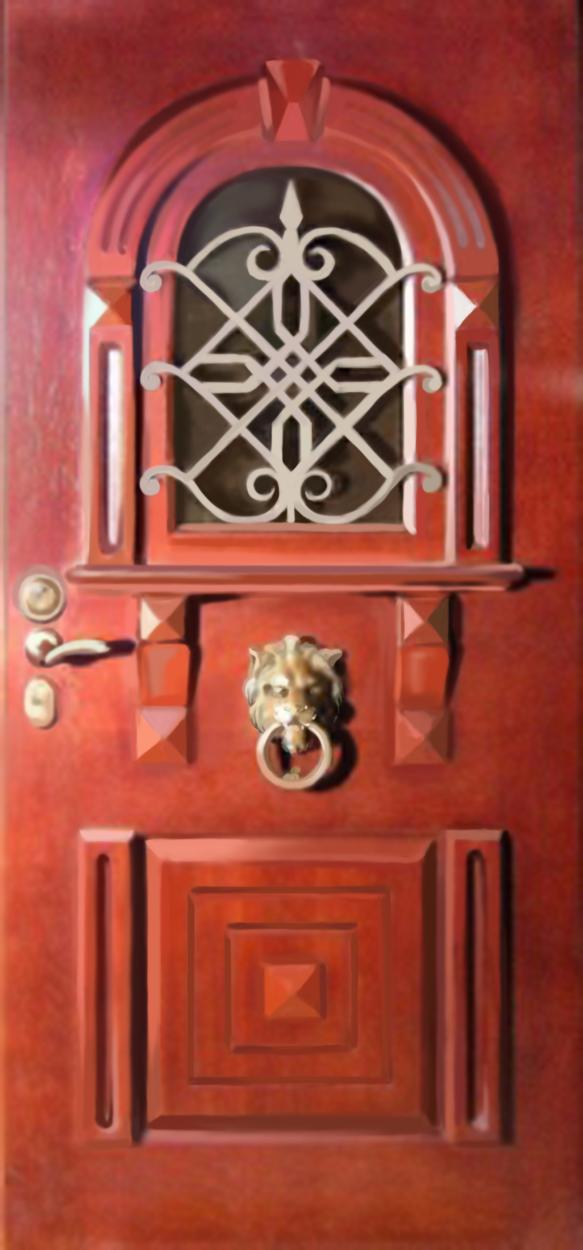 элитные двери входные в дом с решеткой и ковкой